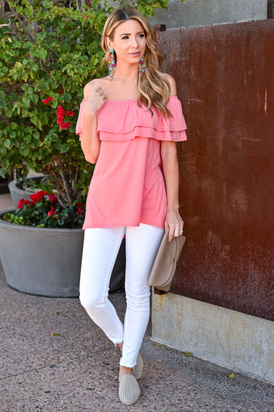 Make It Great Top - Coral womens casual off the shoulder ruffle detail top closet candy front 3
