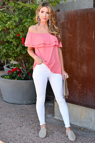 Make It Great Top - Coral womens casual off the shoulder ruffle detail top closet candy front 4