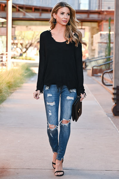Walking On Air Knit Sweater - Black womens casual long sleeve lightweight frayed sweater closet candy front