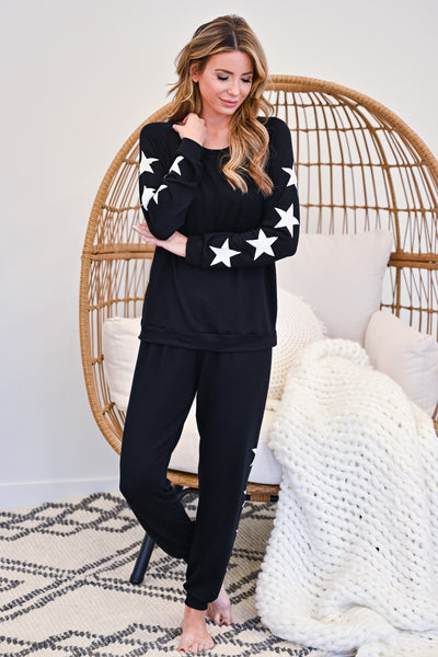 Under The Stars Lounger Set - Black womens casual star print loungewear set closet candy front