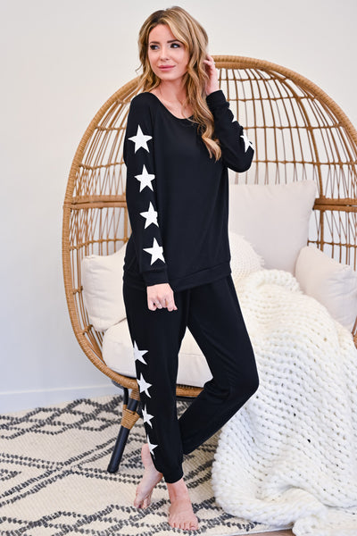 Under The Stars Lounger Set - Black womens casual star print loungewear set closet candy side