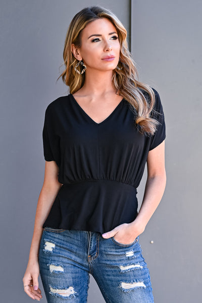 9 to 5 Peplum Top - Black womens casual short sleeve synched waist v neck peplum top closet candy front 2