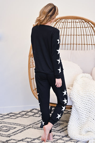 Under The Stars Lounger Set - Black womens casual star print loungewear set closet candy back