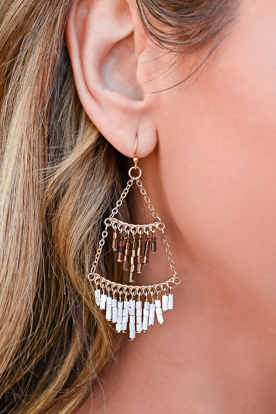 Swinging From The Chandelier Earrings - White womens gold tone fringe detail earrings closet candy front