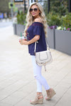 Claire Crossbody Bag - Cream saddle bag, outfit, Closet Candy Boutique