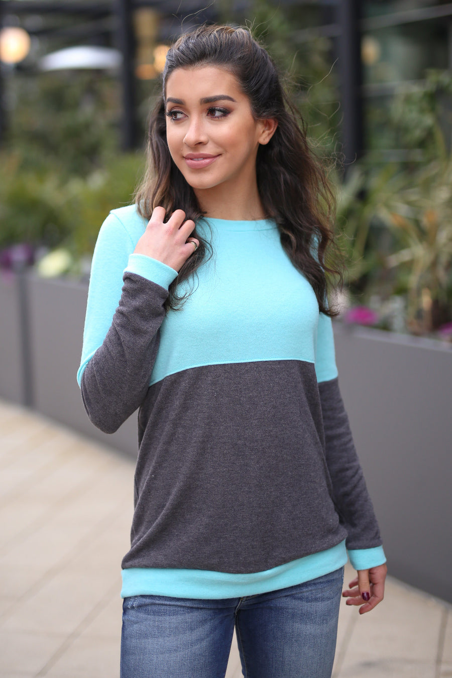We Belong Together Colorblock Top - Mint/Charcoal colorblock top, side, Closet Candy Boutique