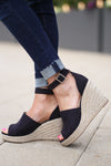 Place In My Heart Wedges - Black peep toe wedges, side, Closet Candy Boutique