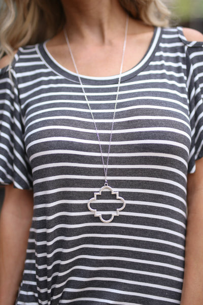 Eternity Quatrefoil Necklace - Silver pendant necklace, cute jewelry, Closet Candy Boutique