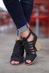 Before Dawn Booties - Black peep toe strappy booties, front, Closet Candy Boutique