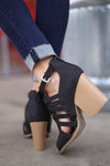 Before Dawn Booties - Black peep toe strappy booties, back, Closet Candy Boutique