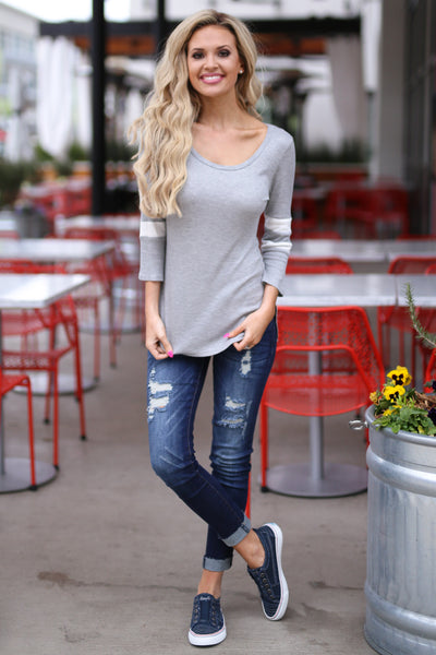 What A Catch Top - Heather Grey varsity stripe sleeve top, outfit, Closet Candy Boutique