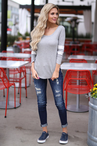 What A Catch Top - Heather Grey varsity stripe sleeve top, front, Closet Candy Boutique
