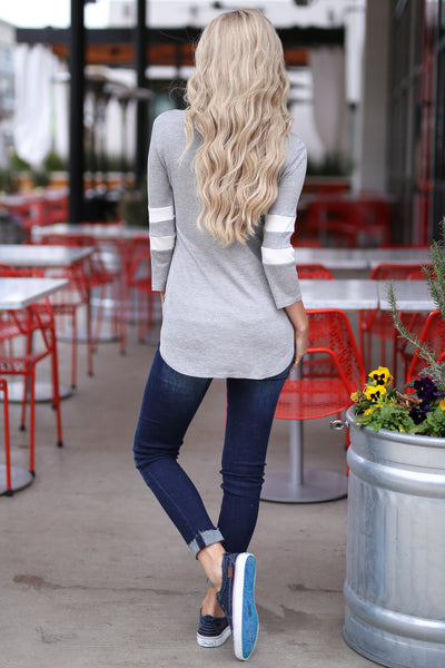 What A Catch Top - Heather Grey varsity stripe sleeve top, back, Closet Candy Boutique
