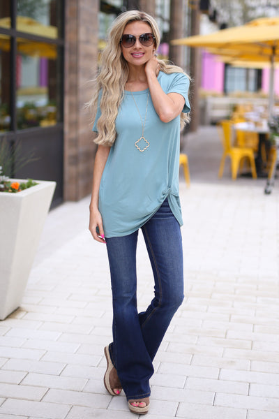 Shorely Knot Top - cute mint short sleeve knot hem top, outfit, Closet Candy Boutique