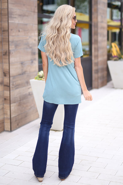 Shorely Knot Top - cute mint short sleeve knot hem top, back, Closet Candy Boutique