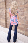 Spring in SoCal Top - Pink criss cross floral print top, back, Closet Candy Boutique