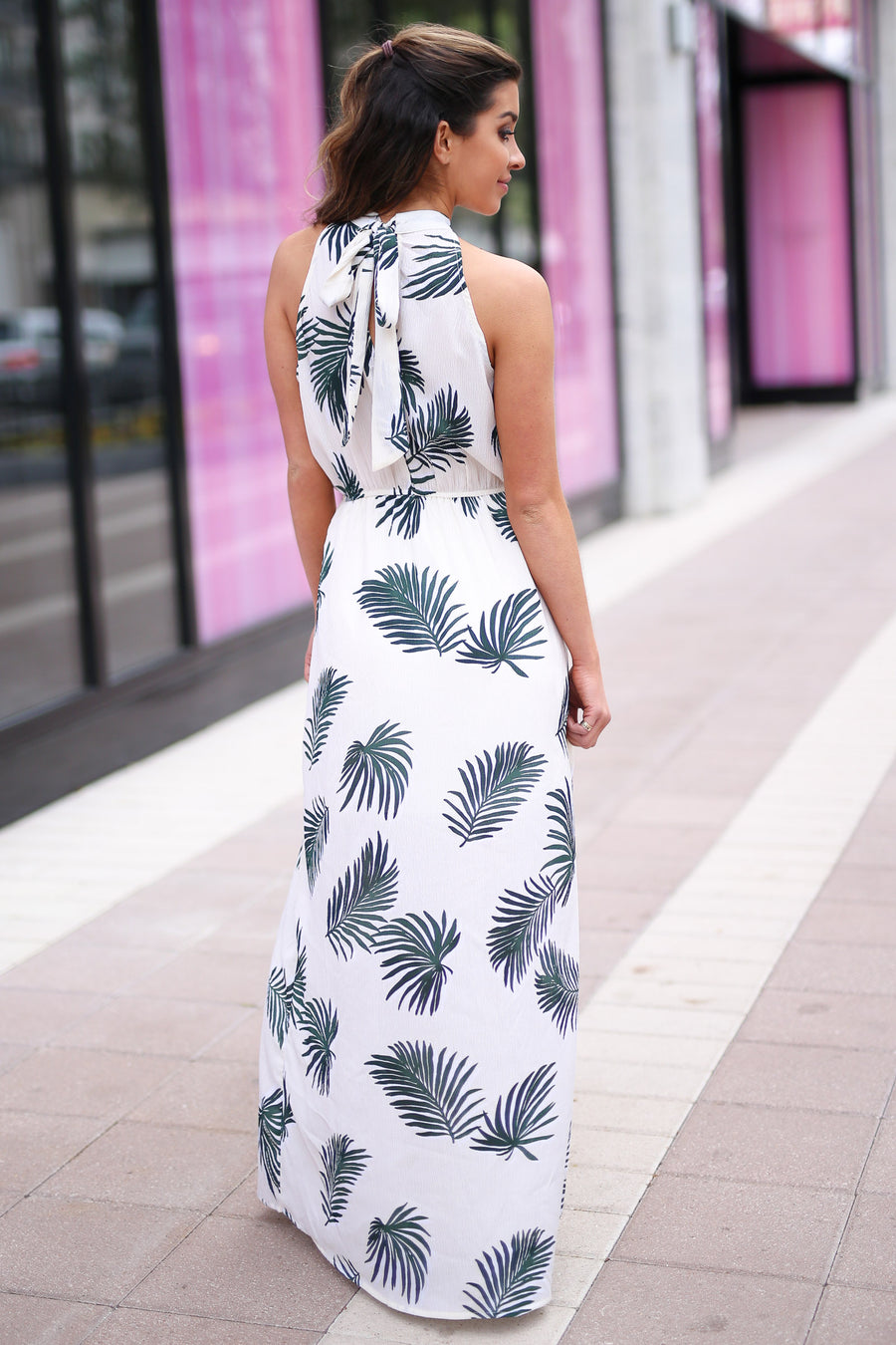 Under the Palms Maxi Dress - Ivory palm leaf print maxi dress, side, Closet Candy Boutique
