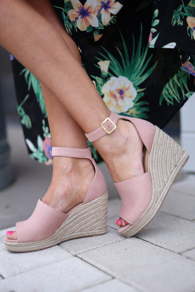 Place In My Heart Wedges - cute blush peep toe wedges, side, Closet Candy Boutique