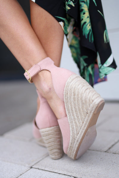 Place In My Heart Wedges - cute blush peep toe wedges, back, Closet Candy Boutique
