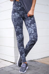No Holding Back Athletic Leggings - Black/Grey floral print athletic leggings, front, Closet Candy Boutique