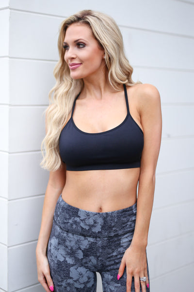 Gym Time Sports Bra - Black strappy back sports bra, front, Closet Candy Boutique