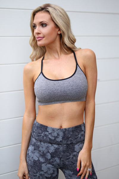 Gym Time Sports Bra - Grey sports bra with strappy back, front, Closet Candy Boutique
