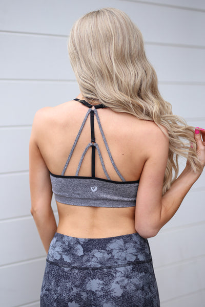 Gym Time Sports Bra - Grey sports bra with strappy back, back detail, Closet Candy Boutique