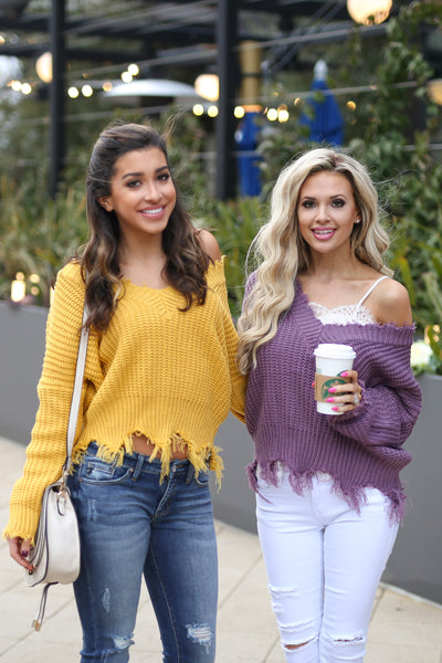 Up For Anything Sweater - Mustard v-neck frayed sweater, front, Closet Candy Boutique