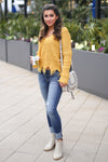 Up For Anything Sweater - Mustard v-neck frayed sweater, outfit, Closet Candy Boutique