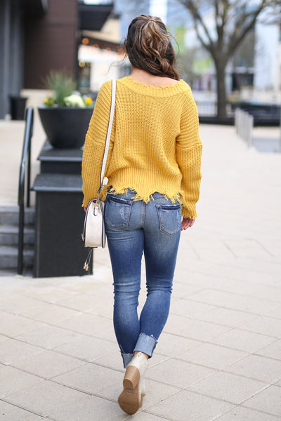Up For Anything Sweater - Mustard v-neck frayed sweater, back, Closet Candy Boutique