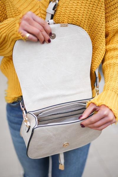Claire Crossbody Bag - Cream saddle bag, interior, Closet Candy Boutique