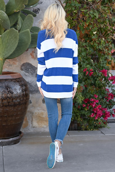 North Shore Striped Sweater - Royal Blue & white women's v-neck stripe print sweater, Closet Candy Boutique 4