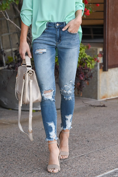 KAN CAN Distressed Raw Hem Jeans - Brielle Wash women's mid-rise distressed skinny jeans, Closet Candy Boutique 1