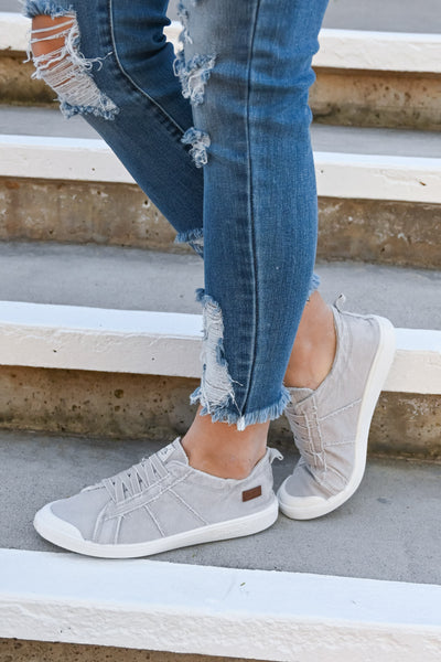Run To You Slip-On Sneakers - Grey women's lace-less shoes, Closet Candy Boutique 3