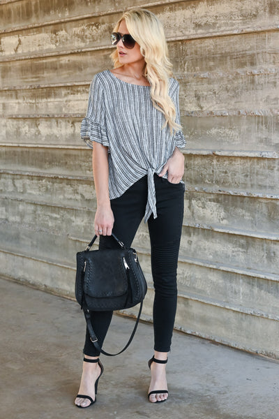 Want It All Tie Front Top - Black & white striped, ruffled sleeves, front tie top, Closet Candy Boutique 2