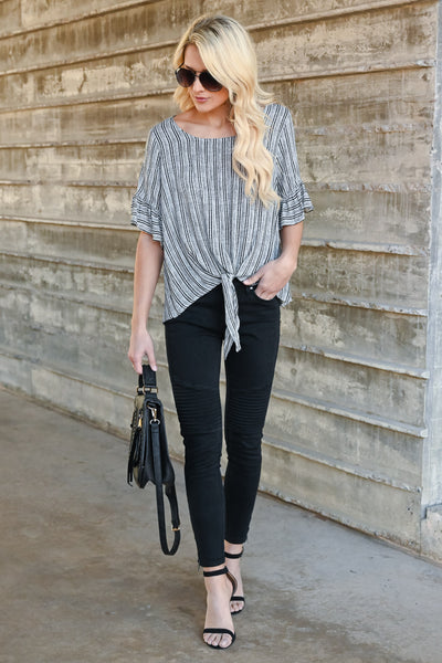 Want It All Tie Front Top - Black & white striped, ruffled sleeves, front tie top, Closet Candy Boutique 4