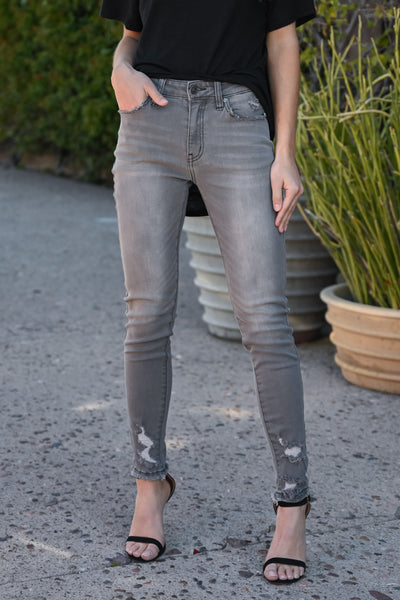 KAN CAN Distressed Skinny Jeans - Whitney Wash women's grey high-waisted denim, Closet Candy Boutique 1