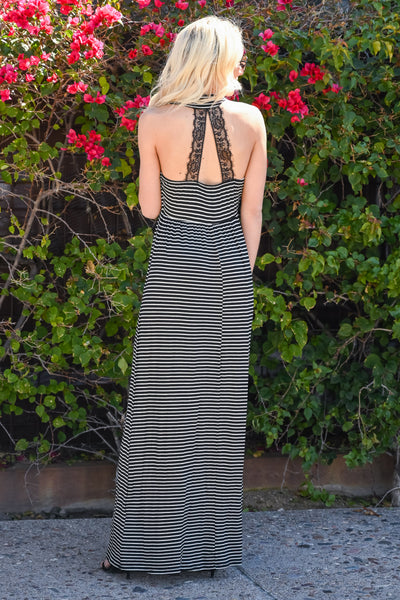 My Love Language Striped Maxi - Black & white women's halter long dress, Closet Candy Boutique 4