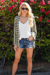 Know You Love Me Striped Cardigan - Olive & white striped women's kimono cardi, Closet Candy Boutique 4