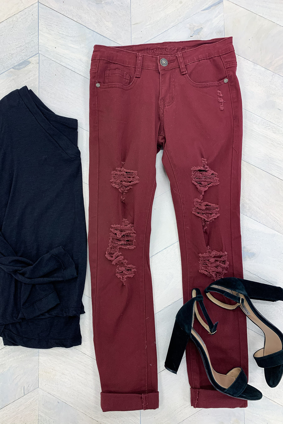 MACHINE Skylar Distressed Skinny Jeans - Burgundy - Closet Candy Boutique