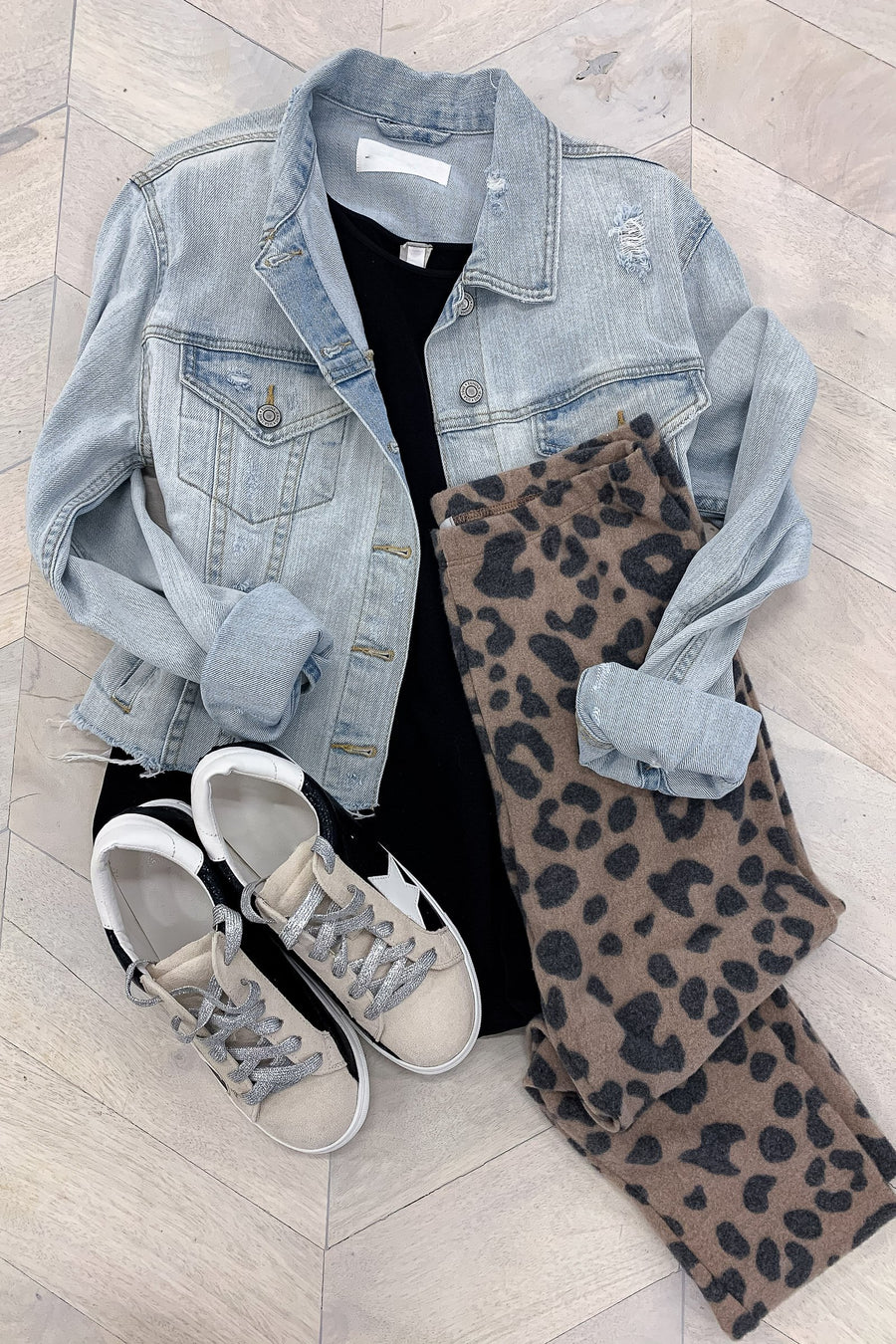 Lounging at It's Best Leggings - Leopard - Flatlay - Closet Candy Boutique
