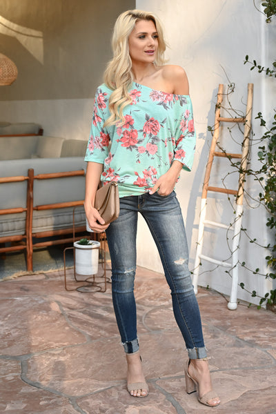 Carefree Spring Floral Top - Mint women's off-the-shoulder top, Closet Candy Boutique 2