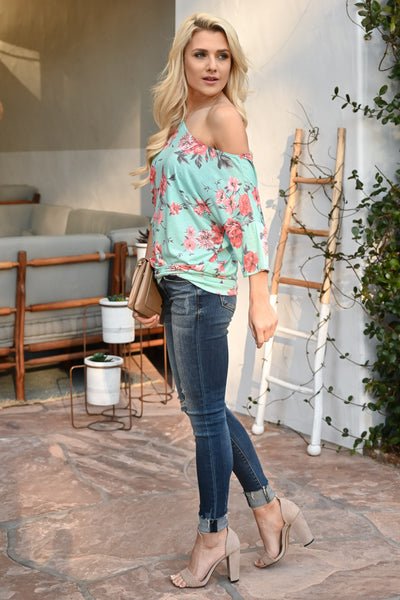 Carefree Spring Floral Top - Mint women's off-the-shoulder top, Closet Candy Boutique 4