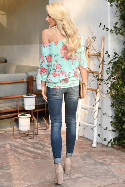 Carefree Spring Floral Top - Mint women's off-the-shoulder top, Closet Candy Boutique 3