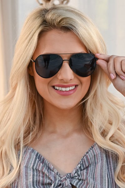 DIFF Eyewear Dash Aviators - Matte Black lens aviator sunglasses, Closet Candy Boutique 5