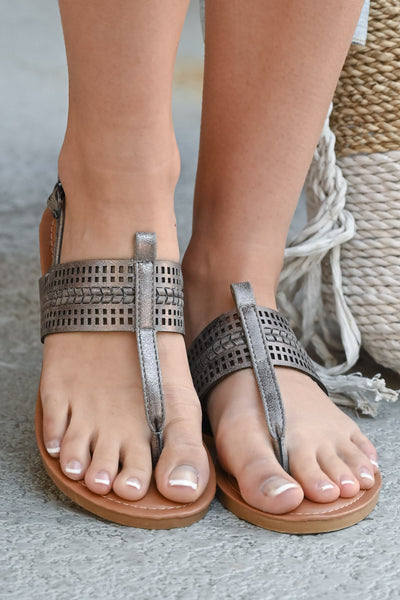 Francesca Sandals - Pewter women's laser cut sandal, Closet Candy Boutique 3
