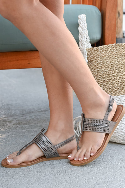 Francesca Sandals - Pewter women's laser cut sandal, Closet Candy Boutique 4