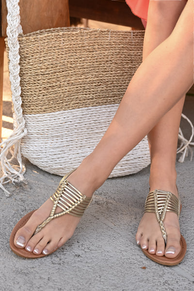 Daphne Strappy Sandals - Gold women's spring & summer sandals, Closet Candy Boutique 2