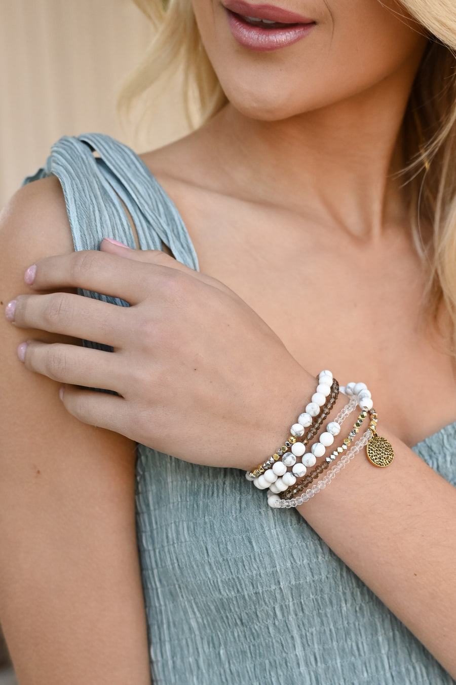 Skylar Wrap Bracelet/Necklace - White Marble women's beaded necklace, bracelet, Closet Candy Boutique 1