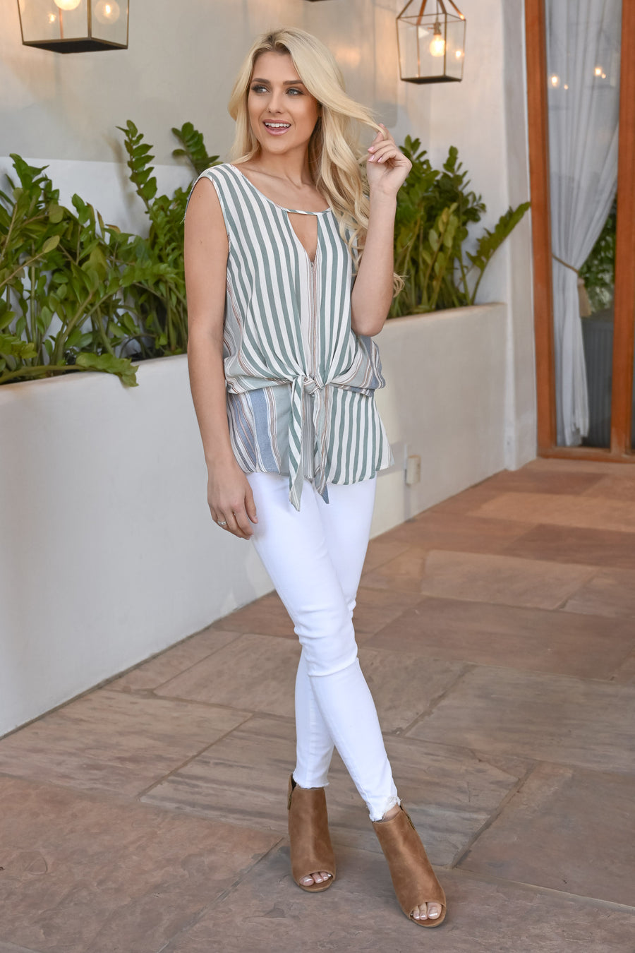 Picture This Striped Top - Sage women's striped print, backless, tie-front top, Closet Candy Boutique 1